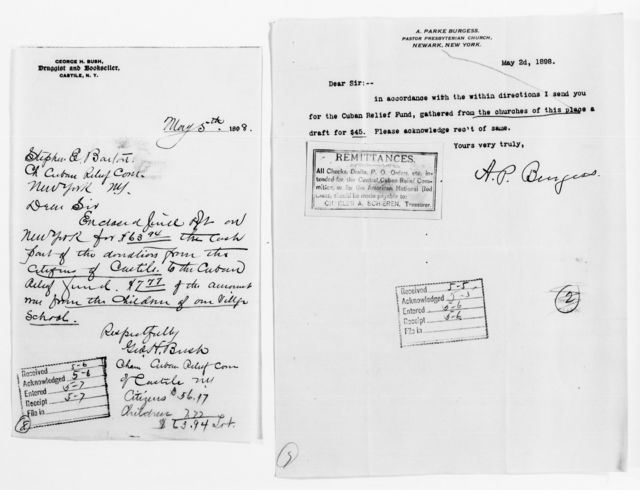 Clara Barton Papers: Red Cross File, 1863-1957; American National Red Cross, 1878-1957; Relief operations; Spanish-American War; Contributions and donations; Cash contributions; 1898, May
