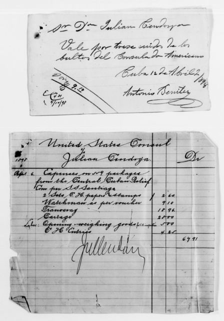 Clara Barton Papers: Red Cross File, 1863-1957; American National Red Cross, 1878-1957; Relief operations; Spanish-American War; Correspondence; Special; Hyatt, Pulaski F., 1898-1899, undated