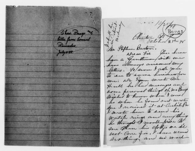 Clara Barton Papers: Red Cross File, 1863-1957; American National Red Cross, 1878-1957; Relief operations; Spanish-American War; Bangs, Charles C., 1898