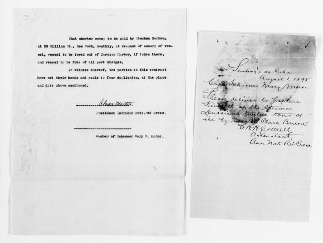 """Clara Barton Papers: Red Cross File, 1863-1957; American National Red Cross, 1878-1957; Relief operations; Spanish-American War; Shipping and transportation; """"Mary E. Morse,"""" 1898, undated"""""""