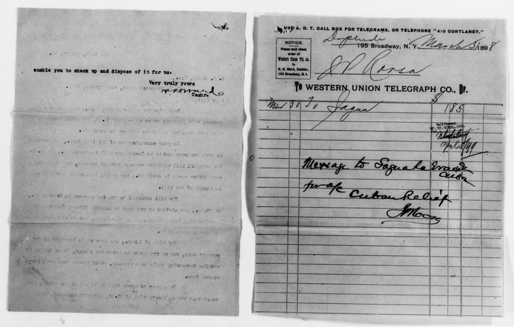 Clara Barton Papers: Red Cross File, 1863-1957; American National Red Cross, 1878-1957; Relief operations; Spanish-American War; Accounts and supplies; Petty cash, 1898-1899