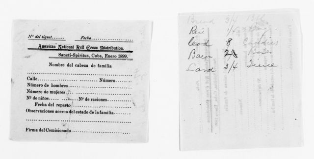 Clara Barton Papers: Red Cross File, 1863-1957; American National Red Cross, 1878-1957; Relief operations; Spanish-American War; Field operations; Santa Clara Province, Cuba; Accounts and receipts, 1898-1899, undated