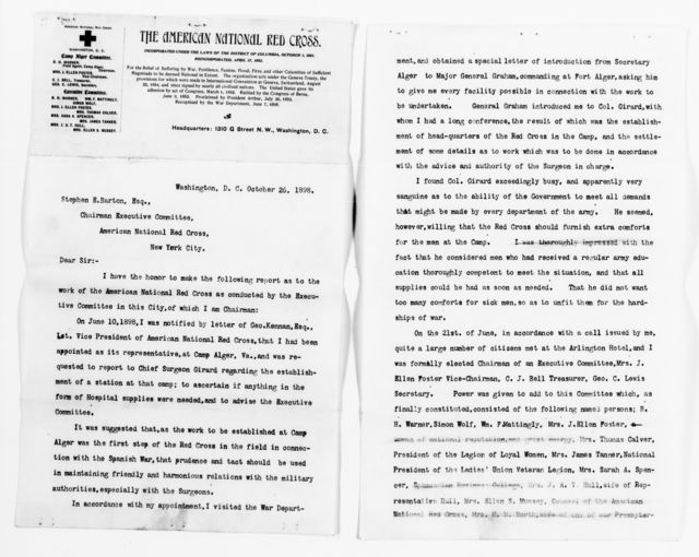 Clara Barton Papers: Red Cross File, 1863-1957; American National Red Cross, 1878-1957; Relief operations; Spanish-American War; Field operations; Camp Alger and Fort Myer, Va.; Report, 1898