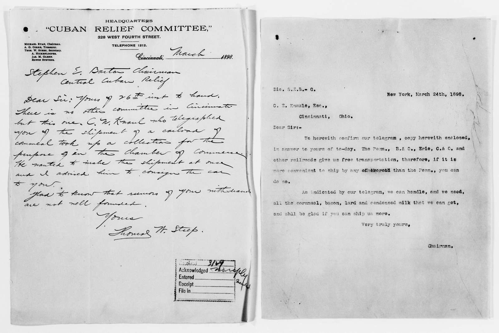 Clara Barton Papers: Red Cross File, 1863-1957; American National Red Cross, 1878-1957; Relief operations; Spanish-American War; Contributions and donations; Materials and supplies; 1898, Mar.-Apr
