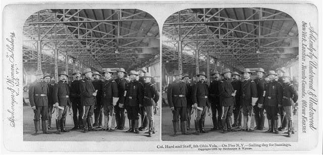 Col. Hard and staff, 8th Ohio Vols.--on pier N.Y.--sailing day for Santiago