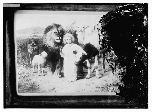 [Copy of painting of young boy with lion, sheep, and other animals]