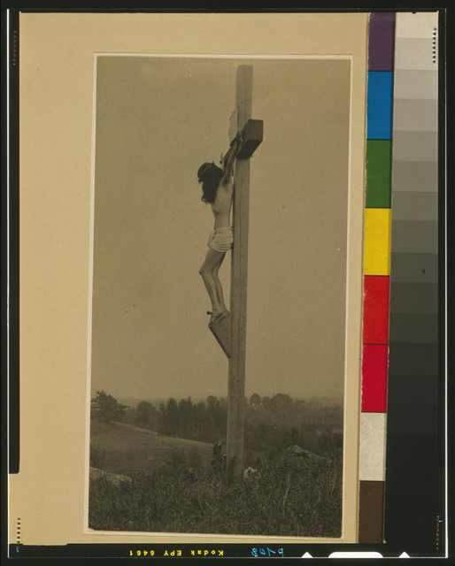 [Crucifixion in profile, left]