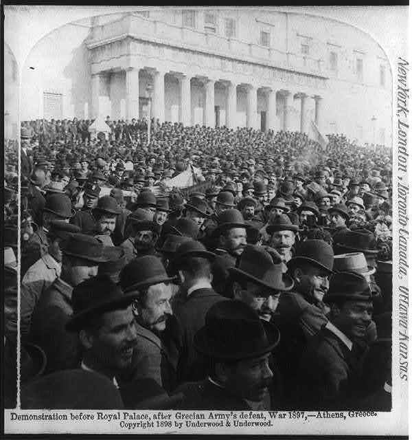 Demonstration before Royal Palace, after Grecian Army's defeat, War 1897, Athens, Greece