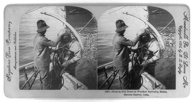 Diver in full dress on wrecked Battleship MAINE, Havana Harbor