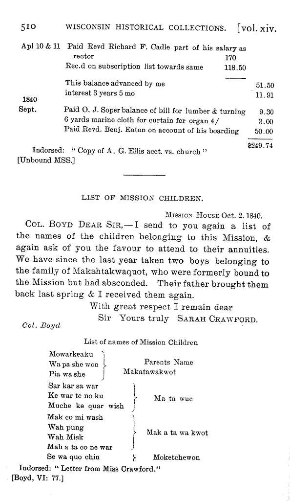 Documents relating to the Episcopal church and mission in Green Bay, 1825-41