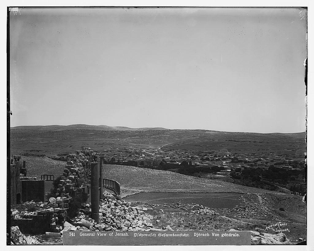 East of Jordan and the Dead Sea. General view of village of Jerash (Gerasa) / American Colony, Jerusalem.