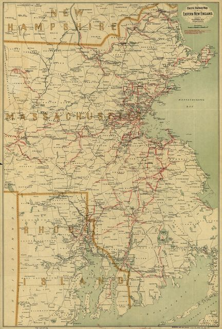 Electric railway map of eastern New England.