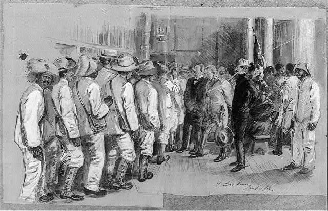 General Lecret and Colonel Figuretti inspecting Cuban recruits at Cuban headquarters ...