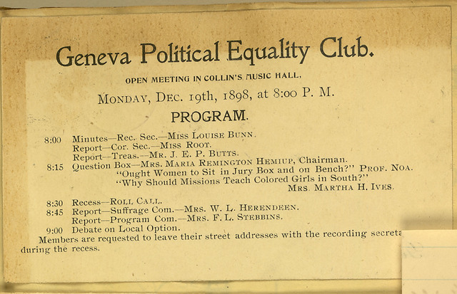 Geneva Political Equality Club meeting notice, Collin's Music Hall for December 19, 1898