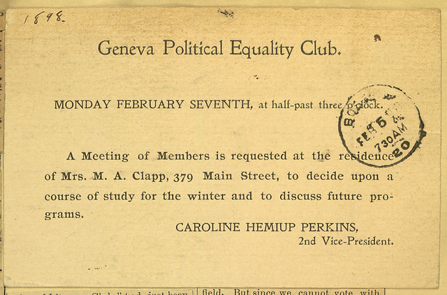 Geneva Political Equality Club meeting notice held at home of Mrs. M. A. Clapp