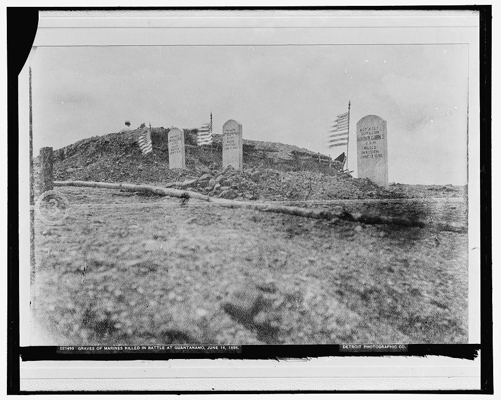 Graves of Marines killed in battle at Guantanamo, June 14, 1898