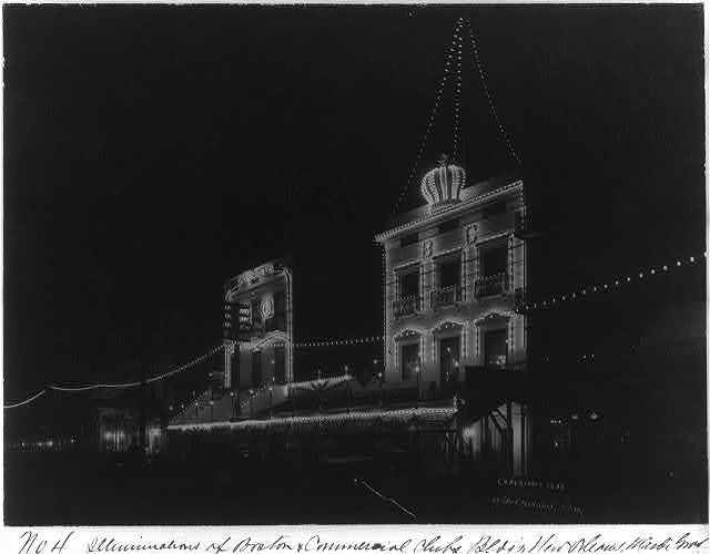 Illuminations of Boston and Commercial Club Buildings, New Orleans, Mardi Gras, 1898