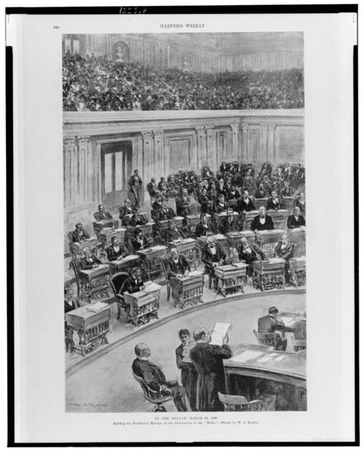 "In the Senate, March 25, 1898--Reading the President's message on the destruction of the ""Maine"" / drawn by W.A. Rogers."