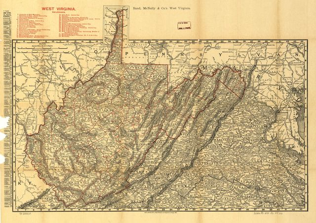 Indexed county and railroad pocket map and shippers guide of West Virginia, accompanied by a new and original compilation and ready reference index, showing in detail the entire railroad system.