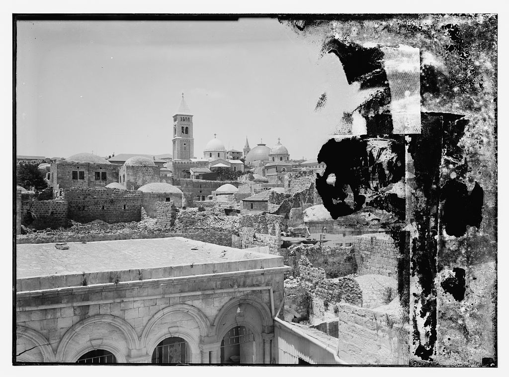 [Jerusalem with the Lutheran Church of the Redeemer and two domes of the Church of the Holy Sepulcher at center]