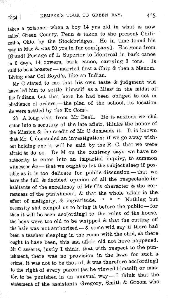 Journal of an Episcopalian missionary's tour to Green Bay, 1834