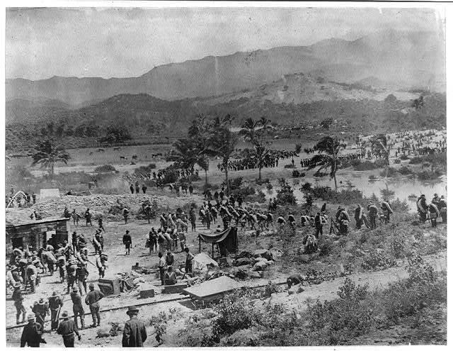 Landing of American troops at Baiquiri [sic], Cuba