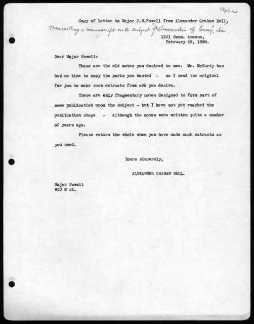 Letter from Alexander Graham Bell to John Wesley Powell, February 28, 1898