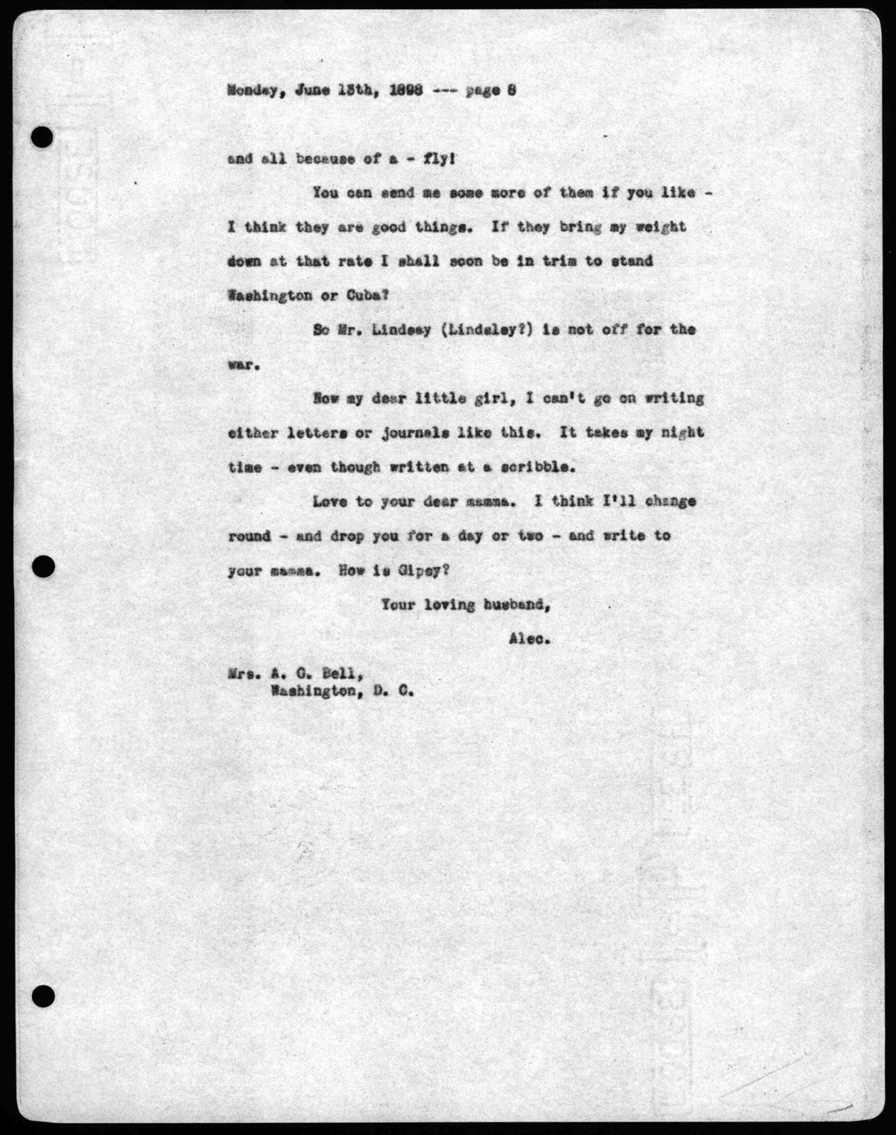 Letter from Alexander Graham Bell to Mabel Hubbard Bell, June 13, 1898