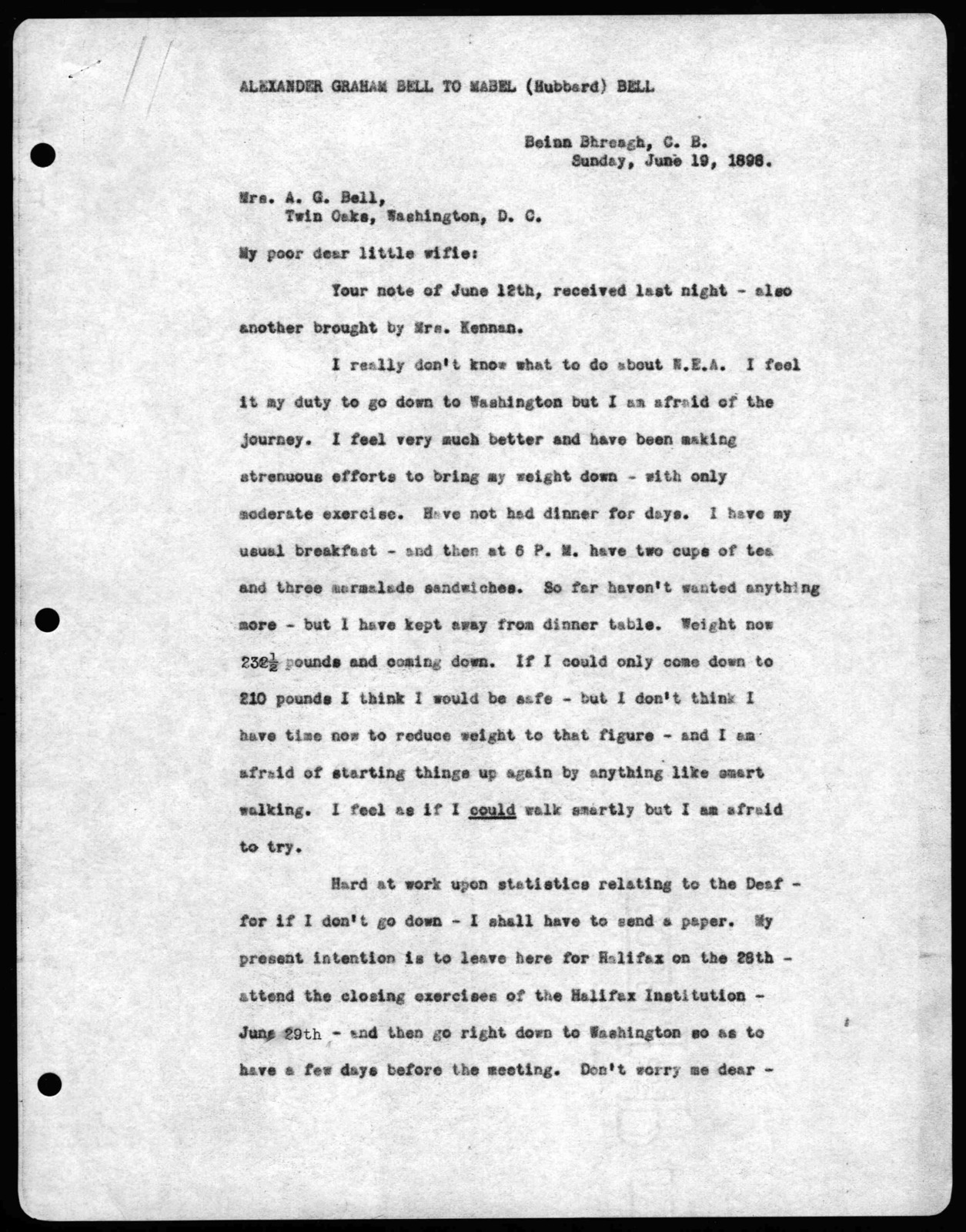 Letter from Alexander Graham Bell to Mabel Hubbard Bell, June 19, 1898
