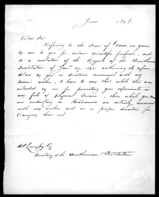 Letter from Alexander Graham Bell to Samuel P. Langley, June 1898