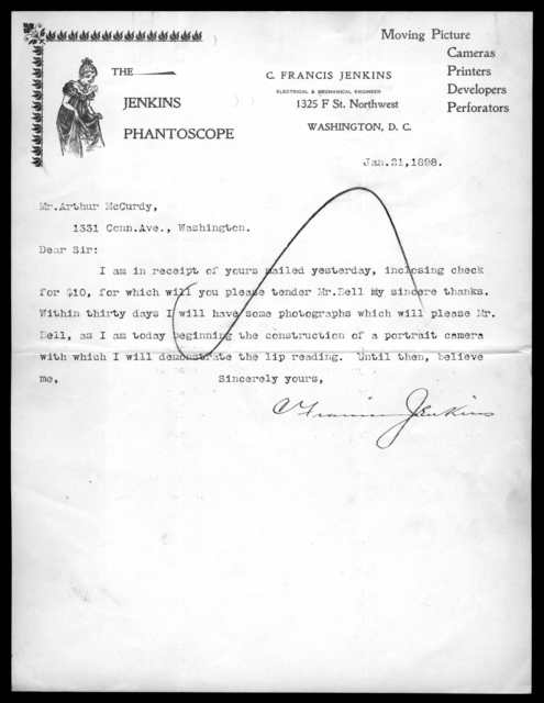 Letter from C. Francis Jenkins to Arthur McCurdy, January 21, 1898