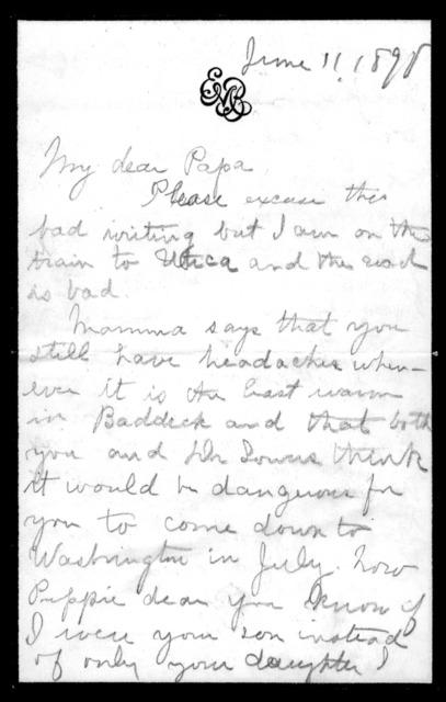 Letter from Elsie Bell Grosvenor to Alexander Graham Bell, June 11, 1898