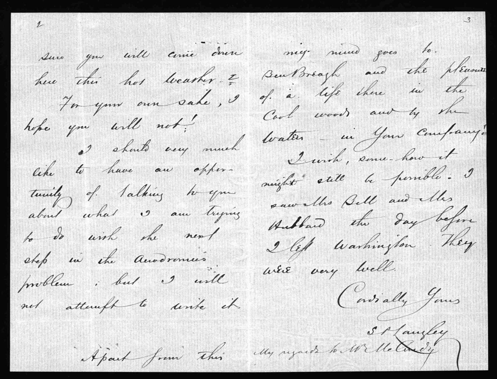Letter from Samuel P. Langley to Alexander Graham Bell, June 18, 1898