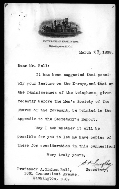 Letter from Samuel P. Langley to Alexander Graham Bell, March 23, 1898