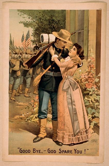 [Man wearing military uniform, holding rifle, and embracing woman with troops in background]
