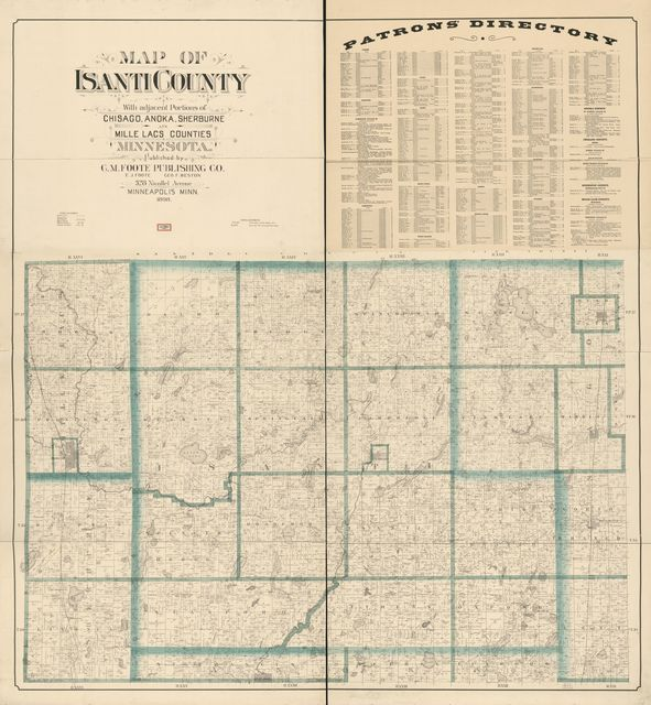 Map of Isanti County : with adjacent portions of Chisago, Anoka, Sherburne, and Mille Lacs counties, Minnesota.