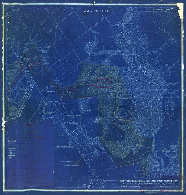Map of one square mile or 1/25 of the battlefield of Gettysburg