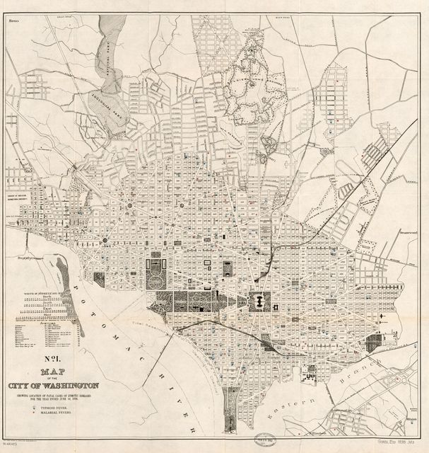Map of the city of Washington showing location of fatal cases of zymotic diseases for the year ended June 30, 1898.