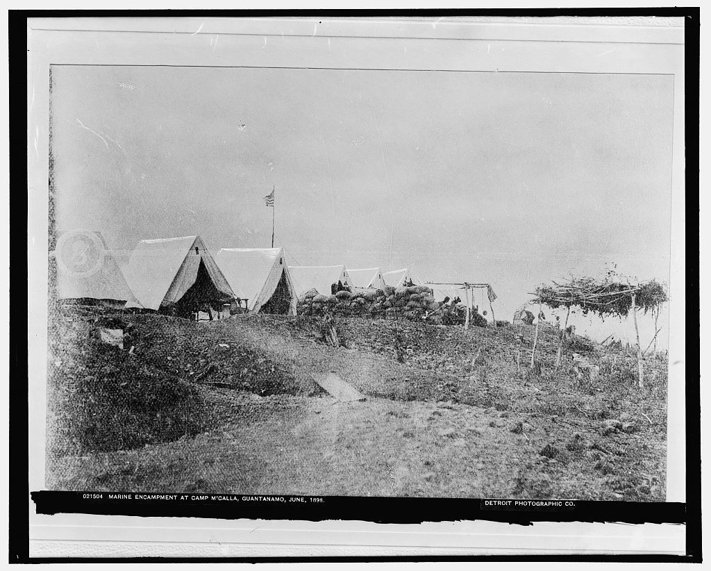 Marine encampment at Camp M'Calla [i.e. McCalla], Guantanamo, June, 1898