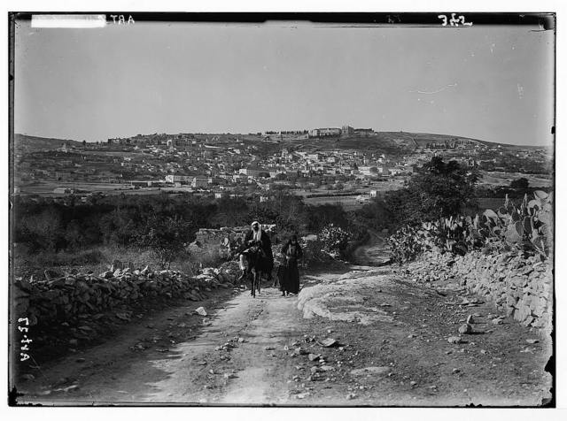 Nazareth from the east. Bridle path in foreground