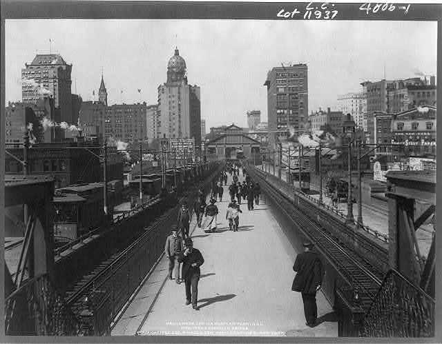New York and Brooklyn Bridge: Promenade and Manhattan [street railroad] Terminal