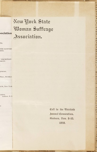 New York State Woman Suffrage Association Call to Thirteenth Annual Convention