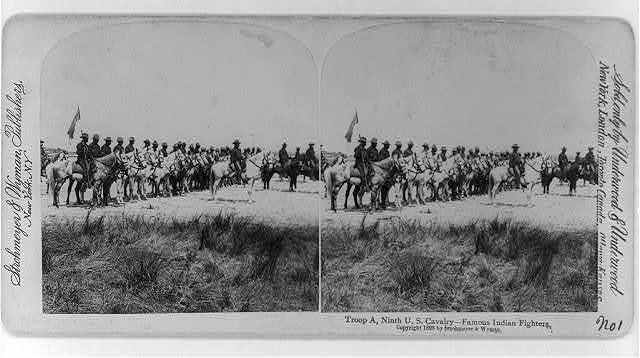 Ninth U.S. Cavalry: Troop A - famous Indian fighters [on horseback]