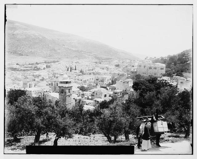 Northern views. Nablous (Shechem) and Mount Gerizim / American Colony, Jerusalem.