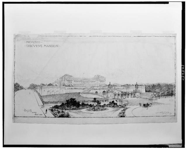 "[Official residence (""Executive Mansion"") for Mary Newton Foote Henderson, 16th Street, N.W., Washington, D.C. Perspective rendering] / Paul J. Pelz, architect ; Jules T. Crow, del."