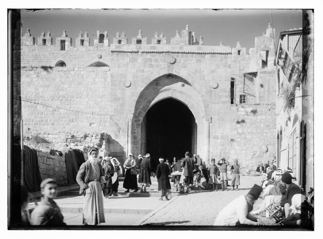 [People and vendors at the Damascus Gate, Jerusalem]