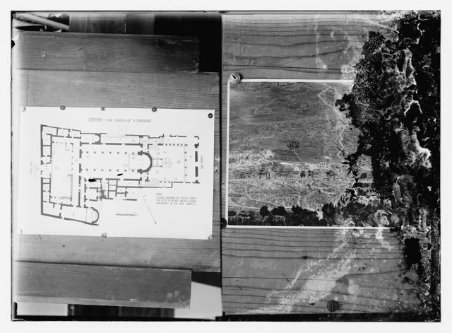 [Plan of the Church of S. Theodore, Jerash (left); aerial view of the ruins of Jerash? (right)]