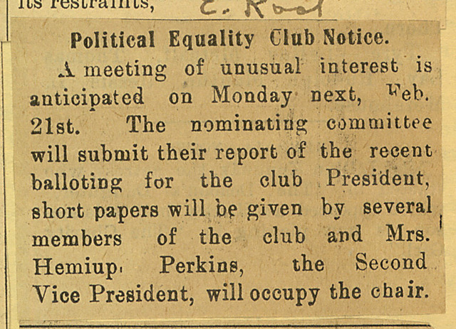 Political Equality Club Notice
