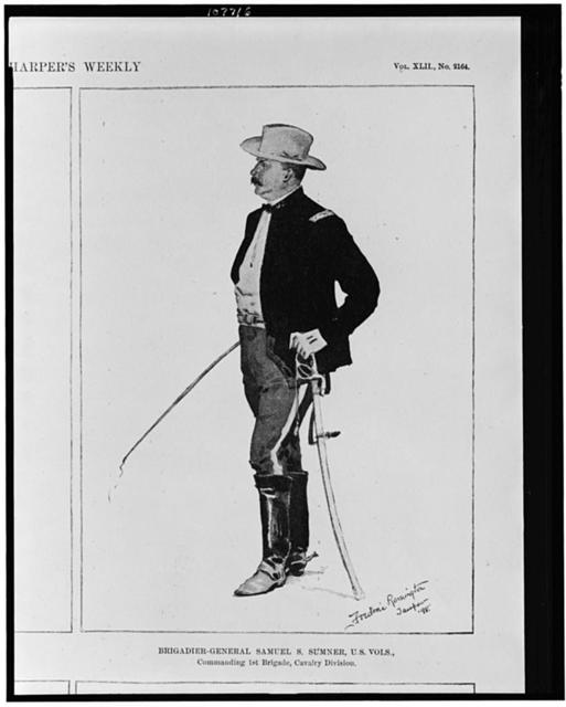 "Prominent officers now at Tampa, Florida.  Brigadier-General Samuel S. Sumner, U.S. Vola., commanding 1st Brigade, Cavalry Division / Drawn from life by Frederic Remington, special artist for ""Harper's Weekly"" at Tampa."