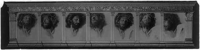 """[Re-photograph of the series """"The Seven Words"""" mounted in elaborately carved frame with classical columns and inscription on architrave]"""